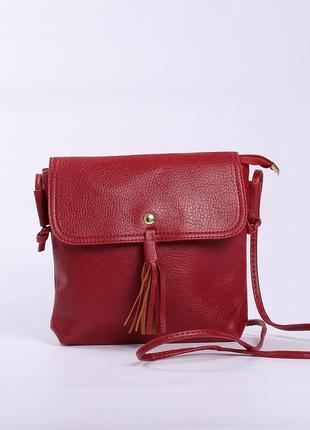 Стильная бордовая сумочка с кисточкой