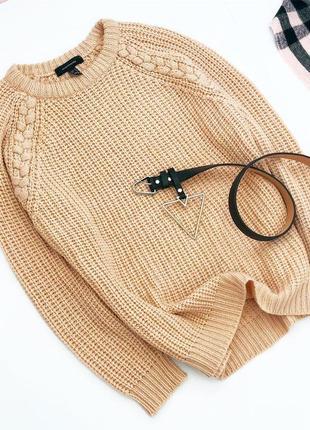 Персиковый свитер с косами аtm