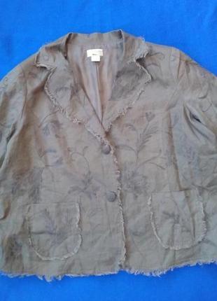 Легкий  пиджак с вышивкой 100% лен3 фото