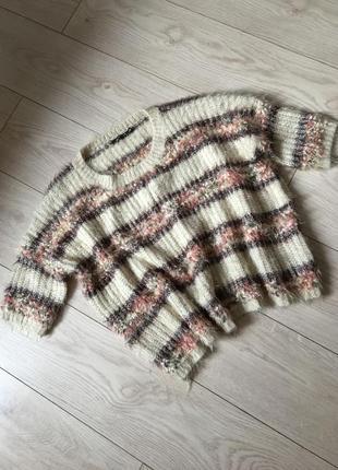 Свитер травка полоска полосатый свитшот пуловер оверсайз