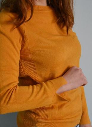 Горчичный свитер теплый жёлтый свитер кофта джемпер