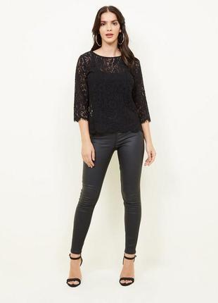 Брендовая черная ажурная блуза с рукавом 3/4 text вискоза