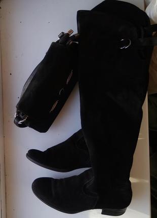 Шикарные замшевые  сапоги высокие ботфорты новые замшевая кожа