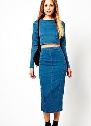 Длинная джинсовая юбка, прямая, сзади на молнии, носите с удовольствием.