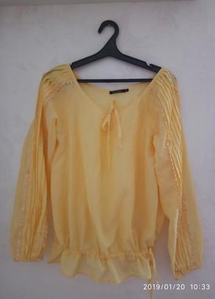 Блузка/блуза/рубашка/кофточка желтая, savage, р.48