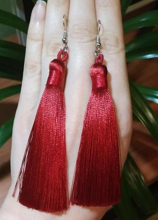Серьги кисти кисточки бордовые висячие сережки
