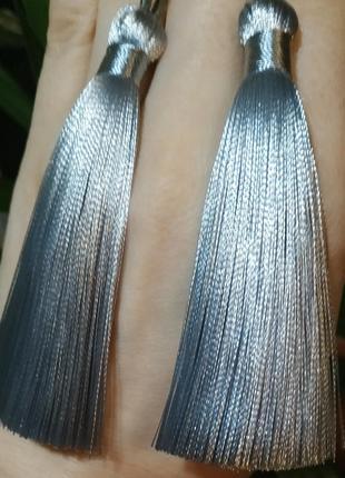 Серьги кисти кисточки длиные висячие сережки1 фото