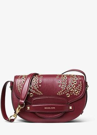 Оригинал, сумка michael kors, cary medium grommeted leather saddle bag, кожа