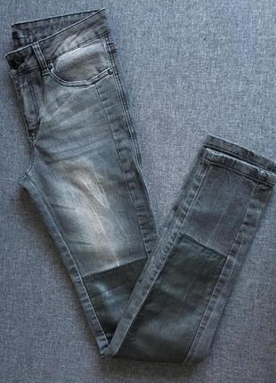Джинсы скинни с кожаной вставкой высокая посадка perfect jeans
