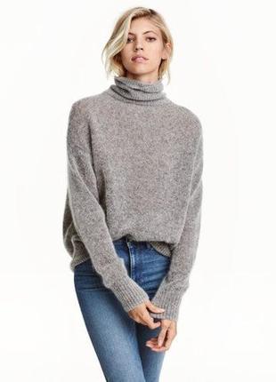 Шерстяной серый свитер светр с горловиной мохер