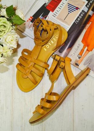 Office. кожа. стильные босоножки, сандалии, гладиаторы в горчичном цвете