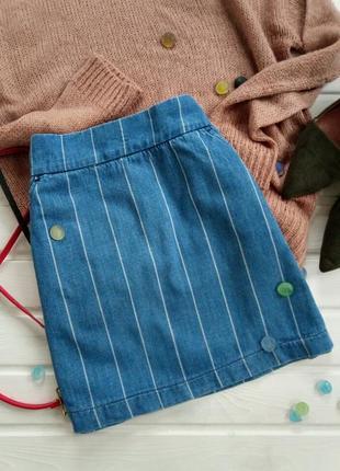 Джинсовая юбка в полоску topshop moto