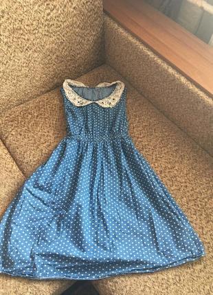 Джинсовое платье,сарафан в сердечках