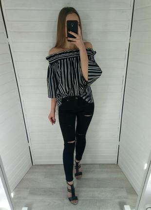 Чёрно-белая блуза h&m