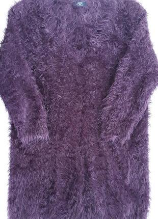 Очень теплый мягкий пушистый удлиненный свитер с коротки рукавом
