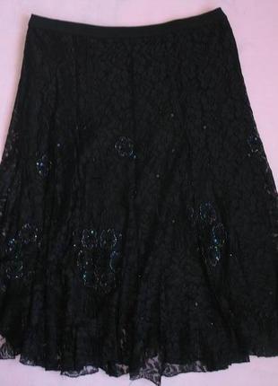 Нарядная юбка черная гипюровая
