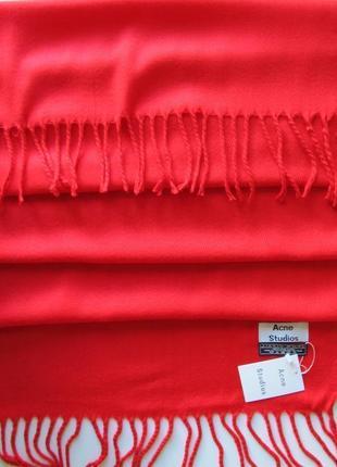 Роскошный шарф палантин acne studios, цвет красный коралл