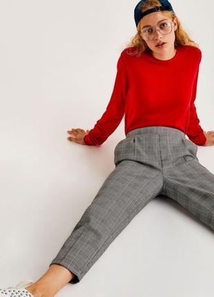 Серые брюки в клетку клетчатые классические штаны сірі прямые класичні