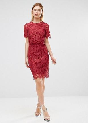 Ажурное бордовое платье club l