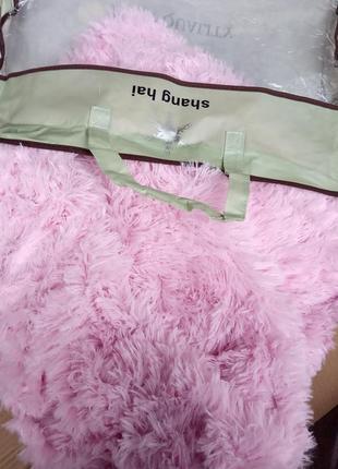 Меховое покрывало травка розового цвета евро