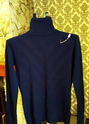Мягкий,теплый шерстяной свитерок, гольф,водолазка с горлом 60%шерсть, темно-синий