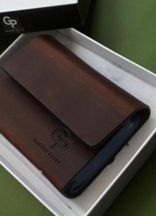 Кожаная визитница gp grande pelle коричнева. натуральная кожа 100 %