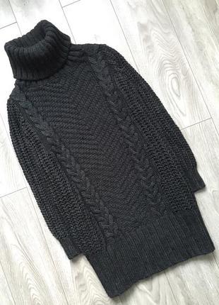 Красивый теплый вязаный удлиненный свитер, платье, cвободного кроя