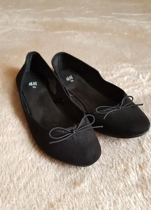 Черные замшевые балетки h & m