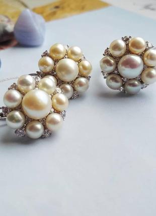 Срібний комплект з культивованими перлами