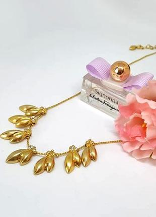 Колье листья с кристаллами золото pilgrim дания элитная ювелирная бижутерия ручной работы