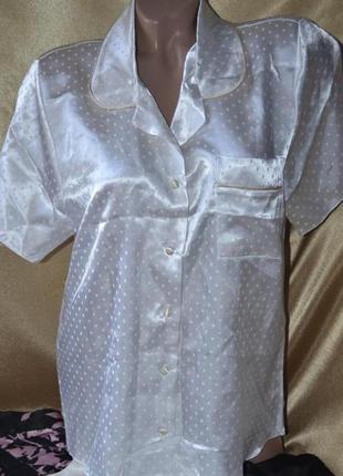Комбинированная атласная пижама кофточка шорты