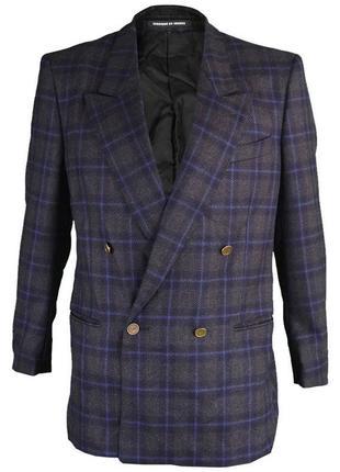 Шерстяной двубортный пиджак блейзер клетчатый в клетку винтаж жакет