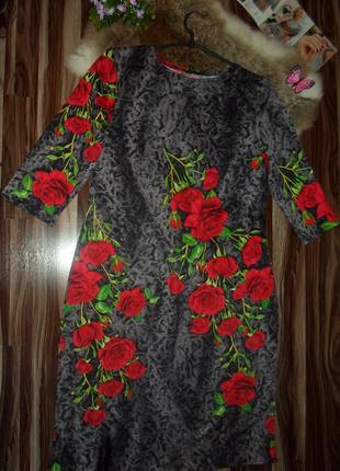 Платье футляр,с розами,трикотаж ,полу-батал,размеры