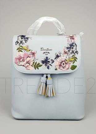 Бесплатная доставка нп #5862-3 blue david jones женский рюкзак с красивой вышивкой
