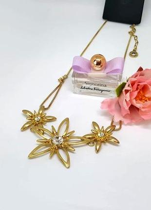 Колье позолота с цветами и кристаллами ювелирная бижутерия дания pilgrim