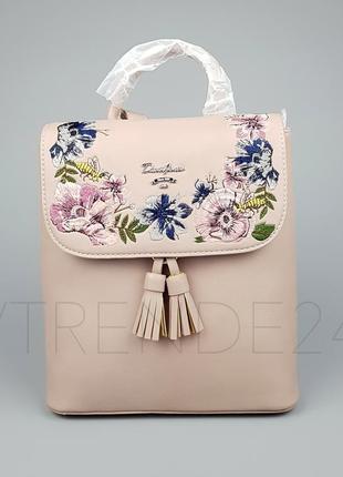 Бесплатная доставка нп #5862-3 pink david jones женский рюкзак с красивой вышивкой