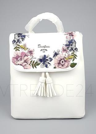 Бесплатная доставка нп #5862-3 white david jones женский рюкзак с красивой вышивкой