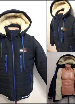 """Стильная зимняя куртка-жилет,модель """"tommy hilfiger"""" трансформер!!!48 р новая!"""