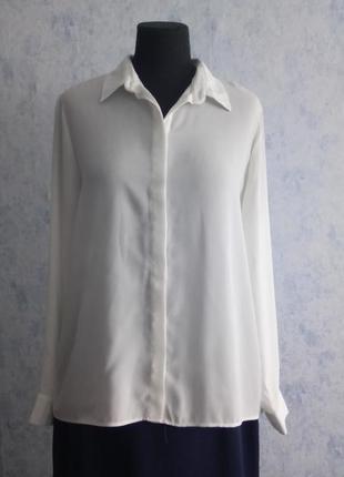 Белая креповая рубашка блуза размер uk 14