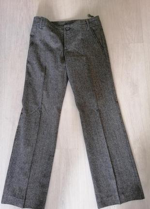 Брюки фирма pta штаны серые теплые классика офис шерсть