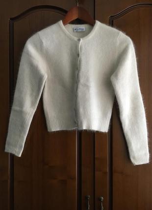 Тёплая нежная белая кофта с длинным рукавом на пуговицах miss selfridge