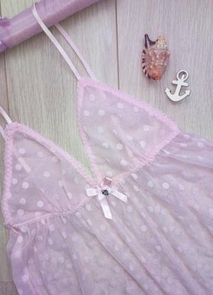 ❤ готовимся ко дню святого валентина ❤ прозраяная розовая майка в горох на бретельках