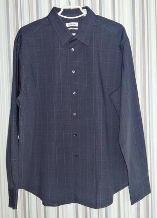 Хлопковая серая рубашка на 52-54 размер