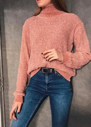 ✨пудровый свитер с высоким горлом