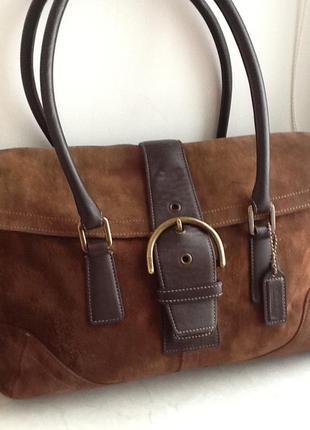 Стильная номерная замшевая сумка coach