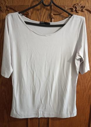 Брендовая футболка с рукавом 3/4. бренд autograph. цвет светло серый. размер указан uk 14