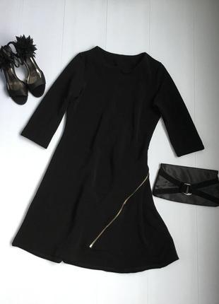 Шикарное стильное платье а силуэта с золотой молнией