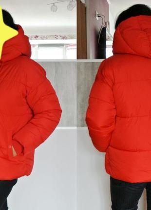 Дутая широкая куртка пуховик primark ярко красная алая
