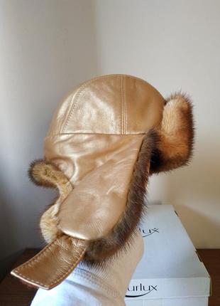 Норковая шапка-ушанка в роскошном золотом цвете. лимитка tykafurlux