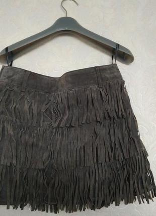 Кожаная трендовая юбка бахромою бренда dorothy perkins,р.8